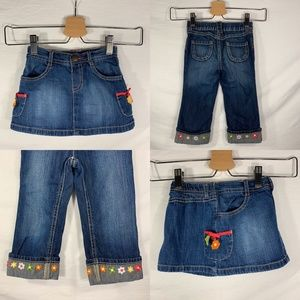Gymboree Embroidered Flower Denim Set Sz 18-24 mo